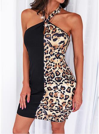 Leopard Ärmellos Etui Über dem Knie Lässige Kleidung Kleider