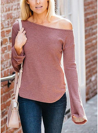 Cotton Blends Off the Shoulder Plain Sweater