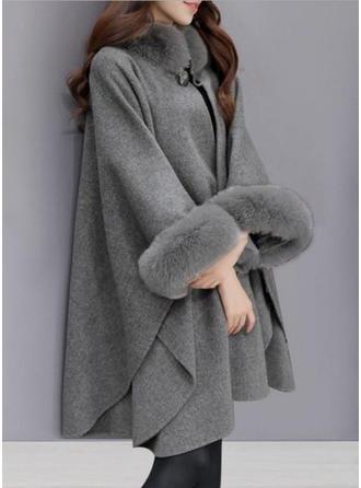 Yün 3/4 Kollu Sade Geniş Waisted Coats