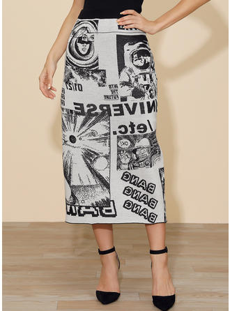 Polyester Print Mid-Calf Pencil Skirts