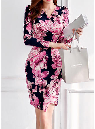 Print/Floral Long Sleeves Sheath Above Knee Casual/Elegant Dresses