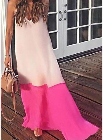 Color Block Sleeveless Shift Casual/Vacation Maxi Dresses