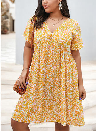 Print Short Sleeves Shift Knee Length Casual/Vacation/Plus Size Dresses
