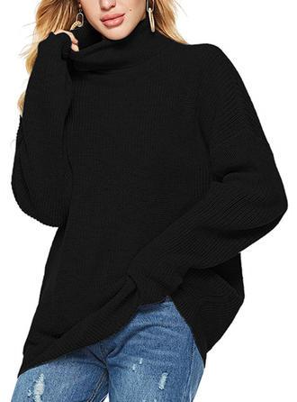 Mieszanki bawełniane Stań kołnierz Jednolity kolor Swetry