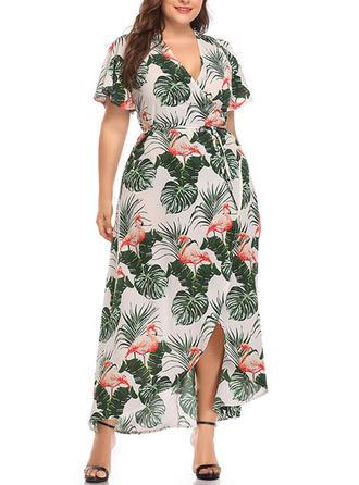 Print Slit V-neck Asymmetrical Shift Dress