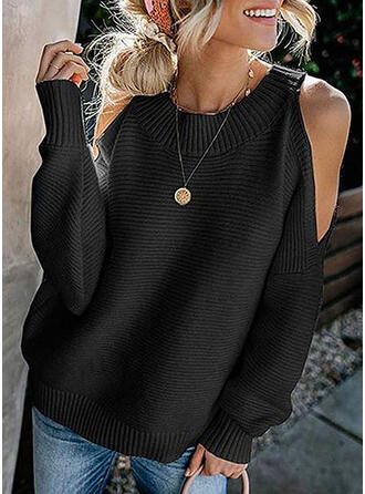 Solid Cold Shoulder Long Sleeves Casual Elegant Knit T-shirts