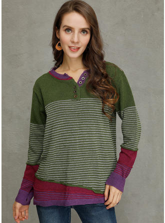 Color Block Striped Ribbed Chunky knit Round Neck Sweaters
