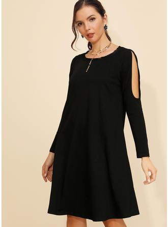 Αμάνικο Μήκος Γόνατος Μικρό μαύρο/Καθημερινό Сукні