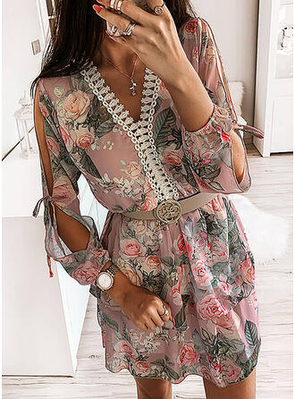Print Long Sleeves/Cold Shoulder Sleeve A-line Above Knee Casual Dresses