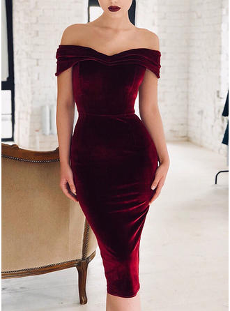 Solid Cap Sleeve Bodycon Midi Sexy/Party/Elegant Dresses