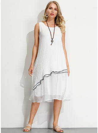 Embroidery Sleeveless Shift Midi Casual Dresses