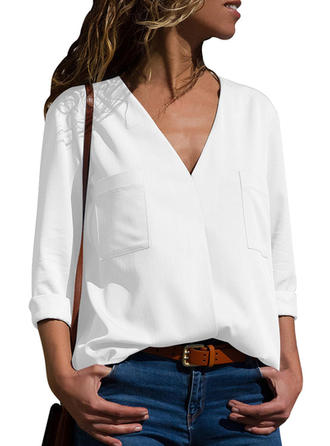 Polyester V Neck Plain 3/4 Sleeves Shirt Blouses