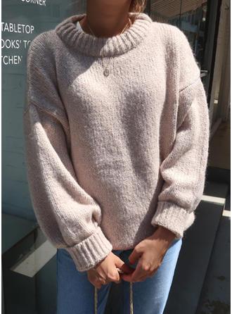 Mohair Okrągły Dekolt Jednolity kolor Swetry