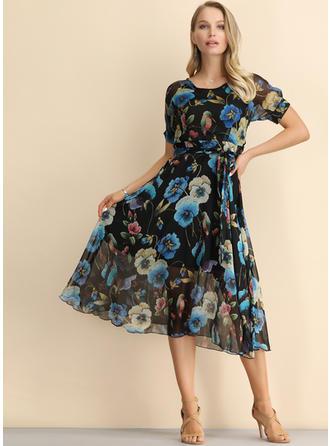 Impresión/Floral Manga Corta Acampanado Midi Casual/Elegante Vestidos