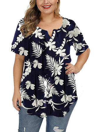 Print Floral V-Neck Short Sleeves Button Up Casual Plus Size Blouses