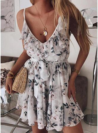 Impresión/Floral Sin mangas Acampanado Sobre la Rodilla Casual/Vacaciones Vestidos