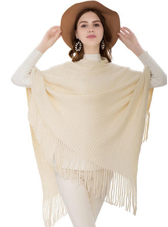 Solid Color/Tassel Oversized/simple/Cold weather Poncho