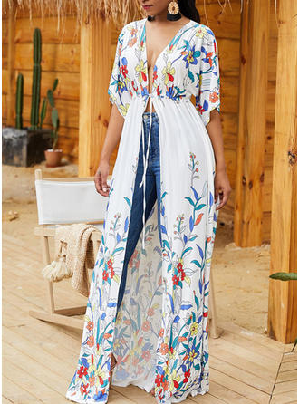 Tropical Print Sexy Bohemian Cover-ups Swimsuits