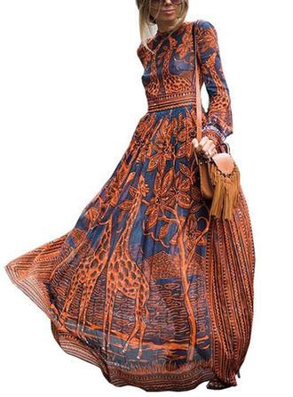 Print Long Sleeves A-line Maxi Casual/Boho/Vacation Dresses
