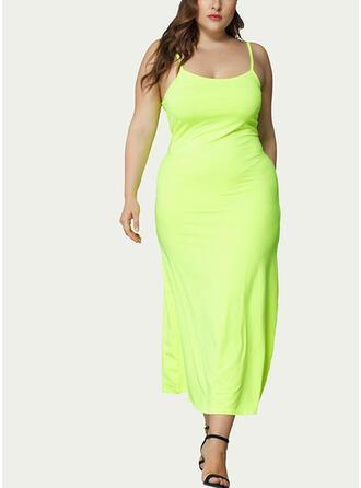 Solid Sleeveless Sheath Casual/Plus Size Midi Dresses