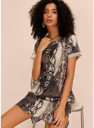 Animal Print Short Sleeves Shift Knee Length Casual Dresses