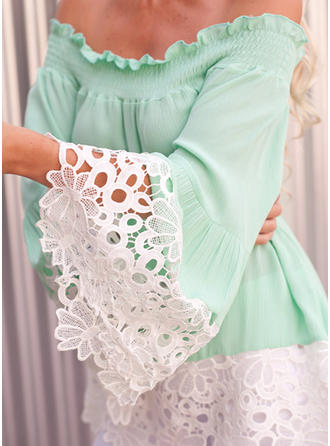 Chiffon Off the Shoulder Lace Flare Sleeve Casual Blouses