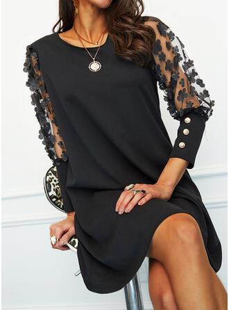 Floral/Solid 3/4 Sleeves Shift Above Knee Little Black/Elegant Dresses