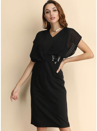 Solid Short Sleeves/Batwing Sleeves A-line Knee Length Little Black/Party/Elegant Dresses