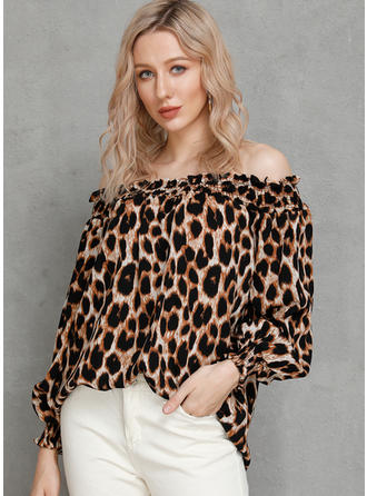 Animal Print Off the Shoulder Long Sleeves Casual Sexy Blouses