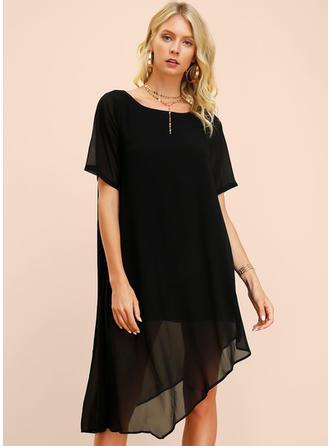 Couleur Unie Manches 1/2 Droite Asymétrique Petites Robes Noires/Décontractée/Élégante Robes