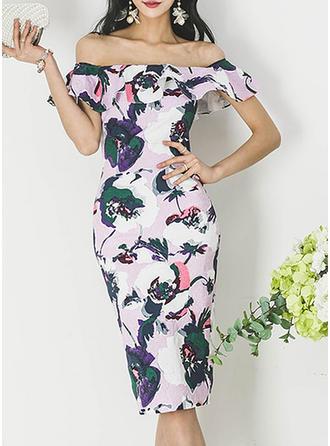 Print/Floral Short Sleeves Sheath Knee Length Casual/Elegant Dresses