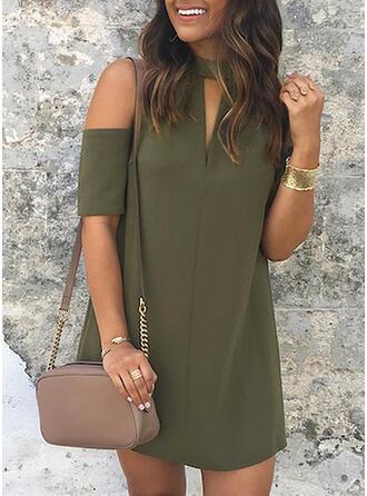 Solid Short Sleeves/Cold Shoulder Sleeve Sheath Above Knee Little Black/Casual/Elegant Dresses
