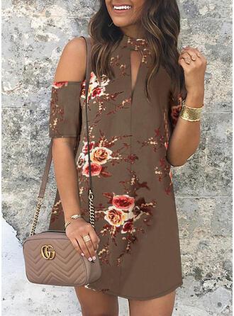 Print/Floral Short Sleeves/Cold Shoulder Sleeve Sheath Above Knee Casual/Elegant Dresses