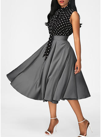 PolkaDot Halter Knee Length A-line Dress (Two Pieces)