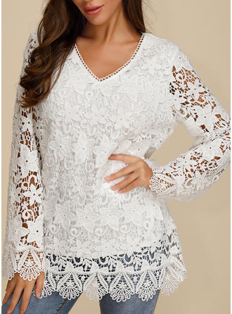 Solid Floral Lace V neck Long Sleeves Casual Elegant Blouses