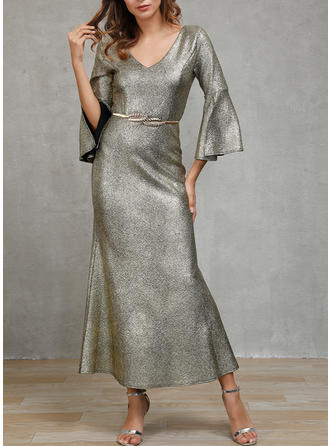 Sequins 3/4 Sleeves Sheath Maxi Casual Dresses
