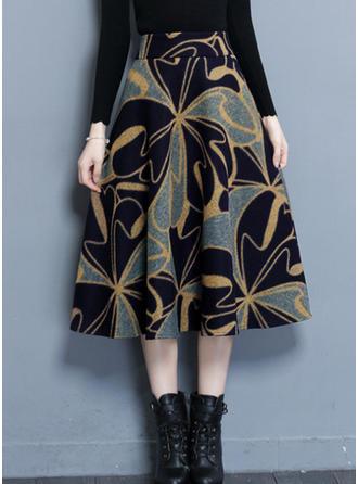de lã Floral Longuete saias de uma linha