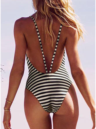 Stripe High Cut Strap Sexy One-piece Swimsuits