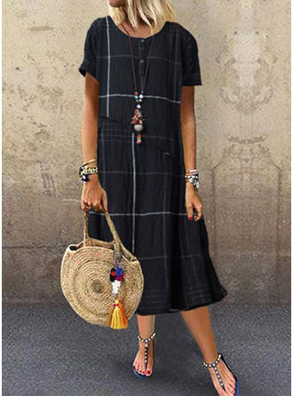 Plaid Short Sleeves Shift Midi Casual Dresses
