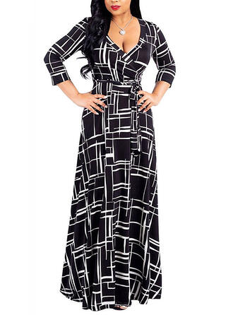 Print 3/4 Sleeves A-line Casual/Elegant/Plus Size Maxi Dresses