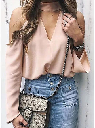 Solide Cold Shoulder Lange Mouwen Casual Pailletten Blouses