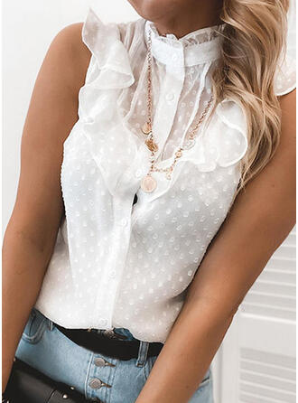 Solid Lace Stand collar Sleeveless Button Up Casual Elegant Tank Tops