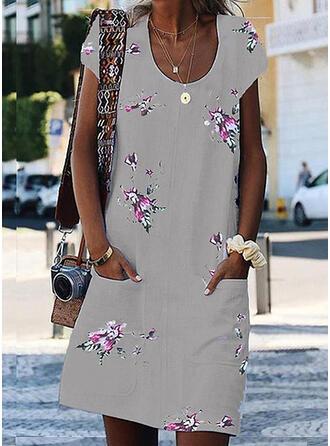 Imprimée/Fleurie Manches Courtes Droite Au-dessus Du Genou Décontractée/Vacances Robes