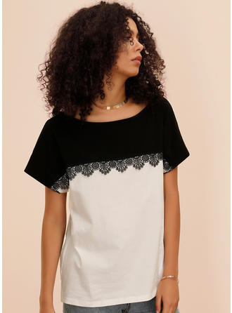 Color Block Lace Round Neck Boat Neck Short Sleeves Casual Blouses