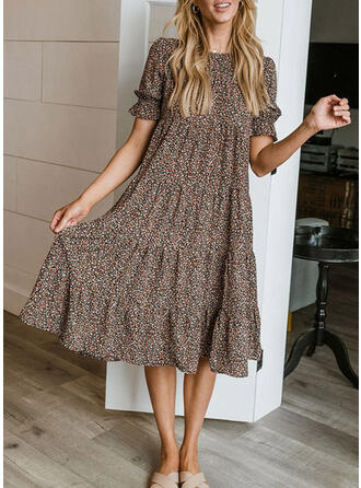 Kwiatowy Krótkie rękawy shim sleeve Suknie shift Wakacyjna Midi Sukienki