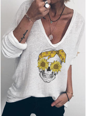 Napraforgó nyomtatás V yaka Uzun kollu Günlük Pólók
