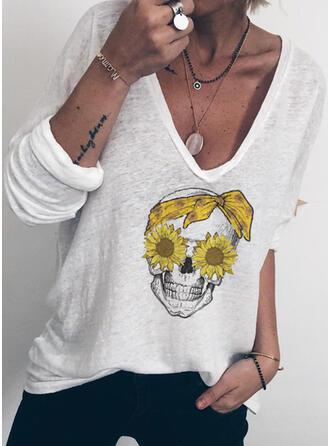 Sonnenblumendruck V-Ausschnitt Lange Ärmel Freizeit T-shirts