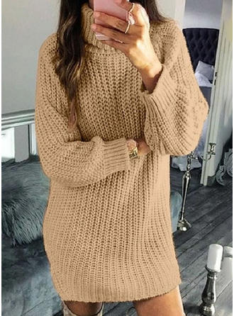 Polyester Col Roulé Couleur unie Gros tricot Robe Pull