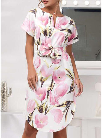 Cotton Blends With Stitching/Print Knee Length Dress