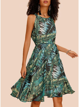 Print Sleeveless A-line Knee Length Casual/Boho/Vacation Dresses